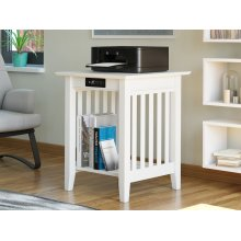 Mission Printer Stand with Charging Station White