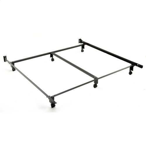 Inst-A-Matic Premium Bed Frame 777R with Headboard Brackets and (6) 2-Inch Locking Rug Roller Legs, Black Finish, King