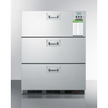 ADA Compliant Built-in Commercial 3-drawer All-refrigerator In Stainless Steel, W/digital Thermostat, Temperature Alarm and Hospital Grade Cord