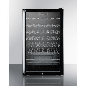 """SummitCommercially Listed 20"""" Wide Freestanding Wine Cellar With Lock, Digital Thermostat and Full-length Towel Bar Handle"""
