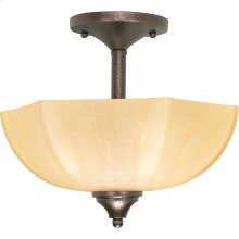 """2-Light 13"""" Copper Bronze Semi Flush Ceiling Light Fixture with Champagne Washed Linen Glass"""