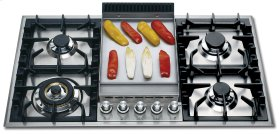 """Stainless Steel with Stainless Steel Trim 36"""" - Built -in Gas Cooktop"""