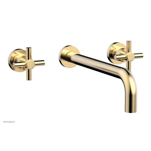 "Basic Wall Tub Set 12"" Spout - Tubular Cross Handles D1134-12 - Satin Brass"