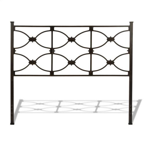 Marlo Metal Headboard Panel with Squared Finial Posts, Burnished Black Finish, California King