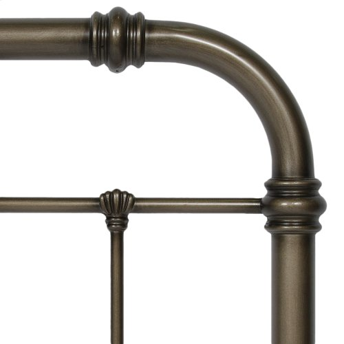 Vienna Complete Metal Bed and Steel Support Frame with Spindles and Intricately Carved Finials, Aged Gold Finish, King