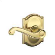 Flair Lever with Camelot trim Hall & Closet Lock - Bright Brass