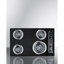 "30"" Wide 220v Electric Cooktop In Black With 4 Coil Elements"