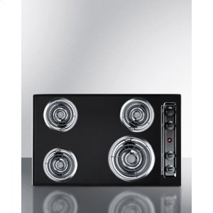 """Summit30"""" Wide 220v Electric Cooktop In Black With 4 Coil Elements"""