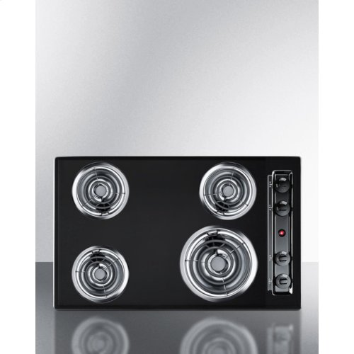 """30"""" Wide 220v Electric Cooktop In Black With 4 Coil Elements"""