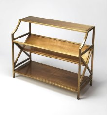 Based on an Old French Librarie book shelf, this modern interpration is sure to delight any book reader. With it's gold tone iron styling, this bookcase will surely be a center piece in any office, library, or living room.