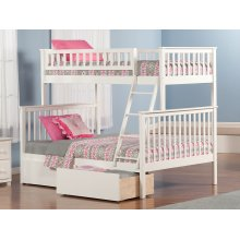 Woodland Bunk Bed Twin over Full with Urban Bed Drawers in White