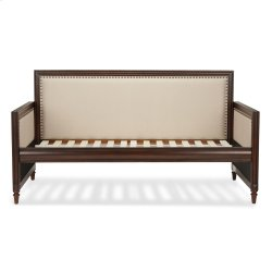 Grandover Wood Daybed with Cream Upholstery and Nailhead Trim, Espresso Finish, Twin