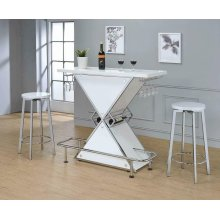 Contemporary White Stacked Triangle Bar Unit