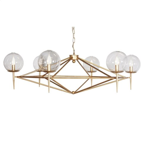 Gold Leaf Chandelier With Hand Blown Glass Globes. Fixture Uses (6) 40 Watt Chandelier Bulbs. Comes With 5' Matching Chain and Canopy.