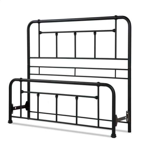 Baldwin Metal Headboard and Footboard Bed Panels with Detailed Castings, Textured Black Finish, King