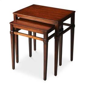 These beautiful cherry nesting tables look great and their versatility will add function to any space. Crafted from hardwood solids and wood products, their elevated stretchers and tapered legs are classic in appearance topped with cherry veneers and a ri