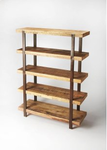 This stylish and highly functional etagere is an essential piece in any modern or loft space. Boasting five solid mango wood shelves in a rugged distressed natural finish, its frame is comprised by four oxidized iron supports and finished on all sides ide
