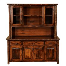 """Hickory 75"""" Buffet & Hutch - with Shelving on Top Portion - Espresso"""