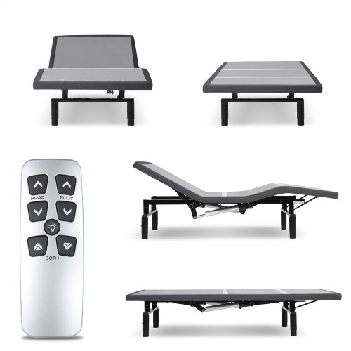 Falcon 2.0+ Low-Profile Adjustable Bed Base with Simultaneous Movement and Under-Bed Lighting, Charcoal Gray, Full