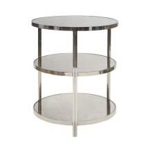 Nickel Plated 3 Tier Table With Antique Mirror Tops