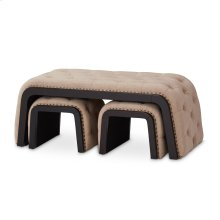 Kaylee Tufted Bench W/(2) Nested Ottomans Natural