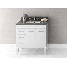 """Venus 31"""" Bathroom Vanity Base Cabinet in White - Doors on Right, Wood Legs"""