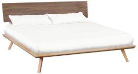 DUET Addsion King Black Walnut Adjustable Headboard Platform Bed