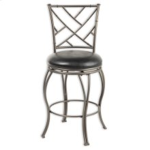 Honolulu Metal Counter Stool with Black Upholstered Swivel-Seat and Coffee Metal Frame Finish, 26-Inch