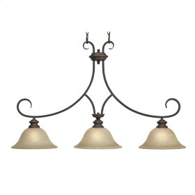 Lancaster 3 Light Linear Pendant in Rubbed Bronze with Antique Marbled Glass
