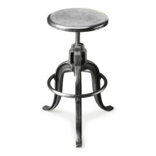 Sitting comfortably in a vintage industrial zone, this wonderfully low-tech, iron Bar Stool can be adjusted to the ideal height simply by turning the seat.