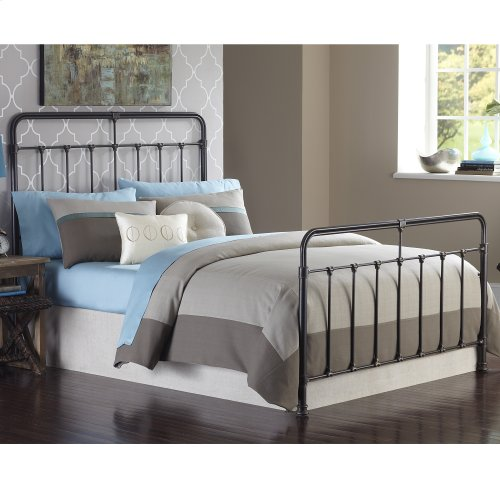 Fairfield Complete Metal Bed and Steel Support Frame with Spindles and Intricate Castings, Dark Roast Finish, Queen