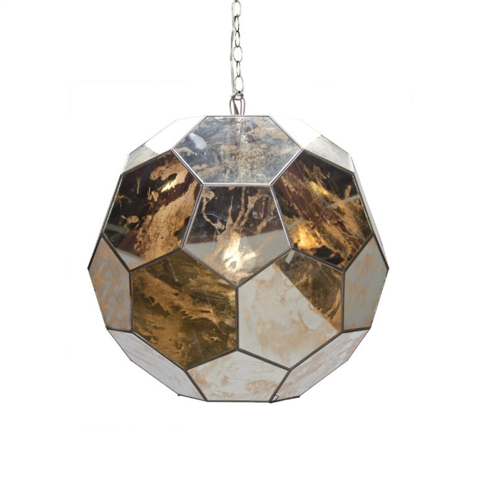 Large Antique Mirror Faceted Ball Pendant Ul Approved for One 60 Watt Bulb 3' Matching Chain Included. Additional Chain May Be Purchased Upon Request.