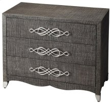 Elegance of classic form blended with mixed materials brings unique perspective to casual styling, woven raffia adorns the drawer and end panels This fantastic chest has just a touch of whimsy with its curl a cue accents giving the accent chest a light an