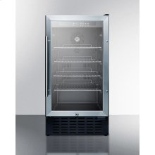 "18"" Wide Built-in Undercounter Glass Door All-refrigerator With A Stainless Steel Wrapped Cabinet and Lock"