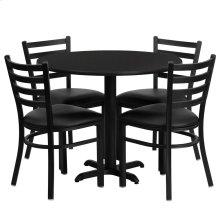 36'' Round Black Laminate Table Set with 4 Ladder Back Metal Chairs - Black Vinyl Seat