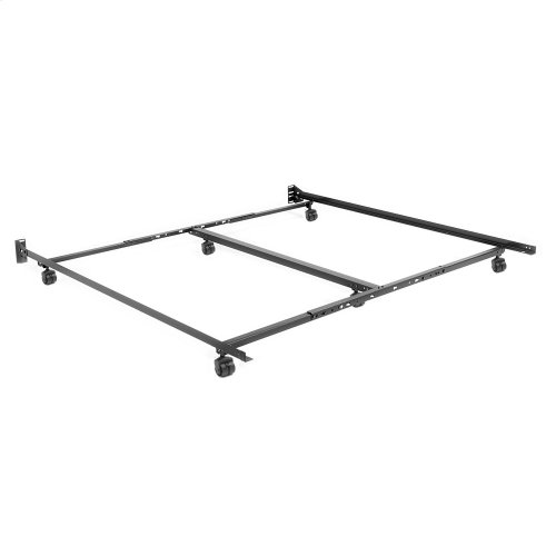 "Low Profile Adjustable Bed Frame TK46R-LP with Keyhole Cross Arms and (6) 2"" Locking Rug Roller Legs, Twin - King"