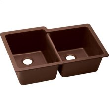 "Elkay Quartz Classic 33"" x 20-1/2"" x 9-1/2"", Offset Double Bowl Undermount Sink, Pecan"