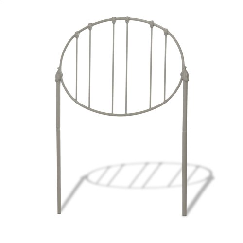 Emory Kids Metal Headboard Panel with Oval Shape Design, Grey Finish, Twin