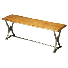 This vintage bench will stylishly enhance your space. Featuring an industrial chic aesthetic, it is hand crafted from dark ant. silver + ant. old wood + p.u. lacquer.