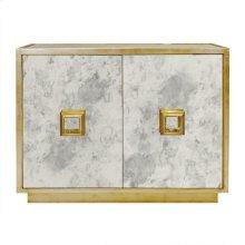 Antique Mirror 2 Door Cabinet With Gold Leaf Detailing. One Interior Shelf.