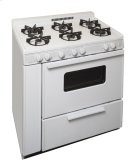 36 in. Freestanding Battery Spark Sealed Burner Gas Range in White Product Image