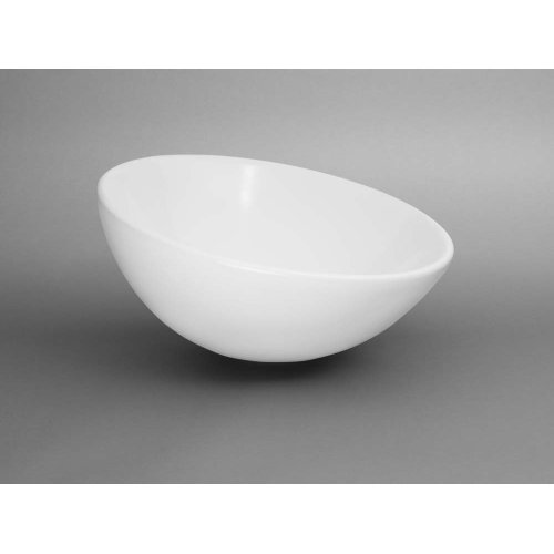 Sloped Rim Round Ceramic Vessel Bathroom Sink in White