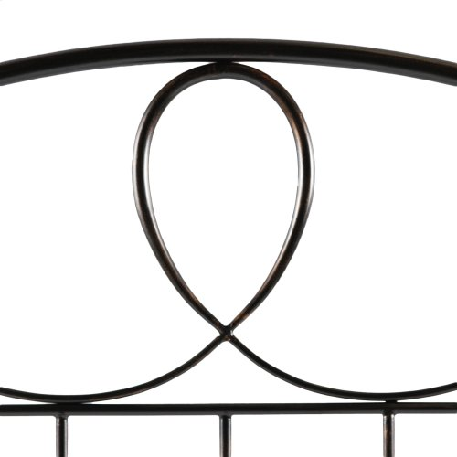 Sylvania Complete Metal Bed and Steel Support Frame with Elegant Pattern of Curves and Twists, French Roast Finish, Queen