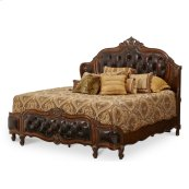 Eastern King Wing Mansion Bed W/leather Tufted Inserts