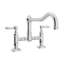 Polished Chrome Italian Kitchen Acqui Deck Mount Column Spout Bridge Kitchen Faucet with Metal Lever
