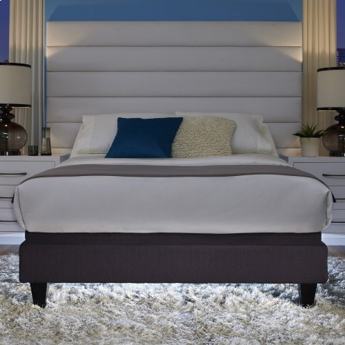 P-232 Furniture Style Adjustable Bed Base with Upholstered Frame and LPConnect, Charcoal Black Finish, Split California King