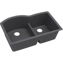 "Elkay Quartz Luxe 33"" x 22"" x 10"", Offset 60/40 Double Bowl Undermount Sink with Aqua Divide, Charcoal"