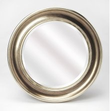 Give any space extra dimension with this classic wall mirror, featuring a round silhouette, beveled mirror and distressed platinum finish. Add it to your powder room vanity for a stylish DIY update, or hang it in the entryway to complement a storage bench