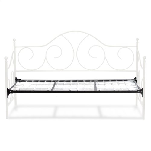 Caroline Complete Metal Daybed with Link Spring Support Frame and Gently Sloping Back and Side Panels, Antique White Finish, Twin
