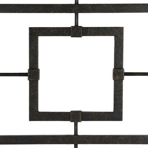 Sheridan Metal Headboard with Squared Tubing and Geometric Design, Blackened Bronze Finish, King
